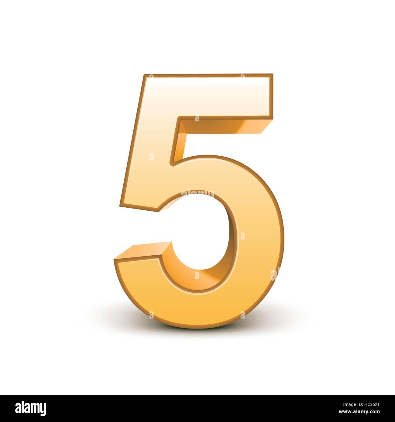 3d color dorado brillante número 5 sobre fondo blanco ilustración