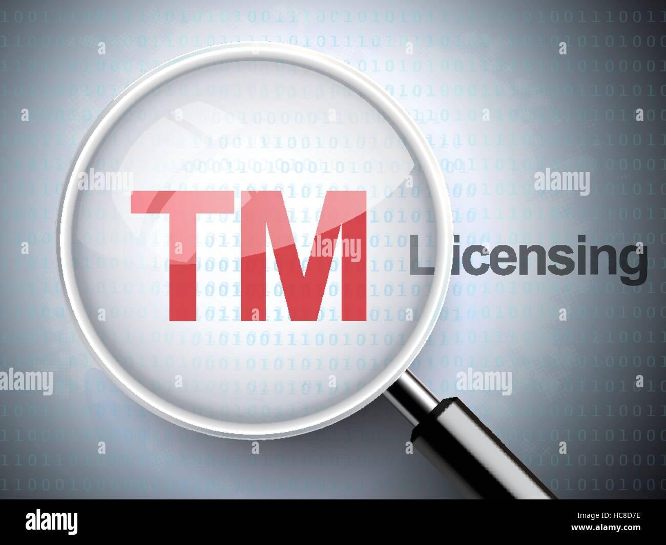 Lupa con icono de marcas y licencias palabra sobre fondo digital Ilustración del Vector