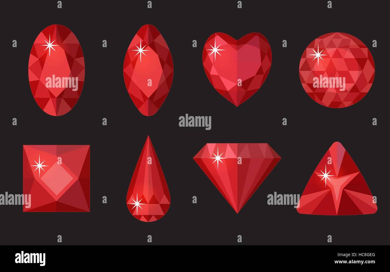 bed79d7f7df4 Conjunto de gemas de color rojo. Colección de joyas