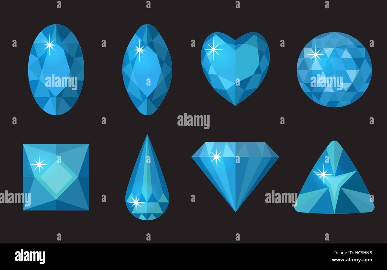 2668286632ed Conjunto de gemas de color azul. Colección de joyas