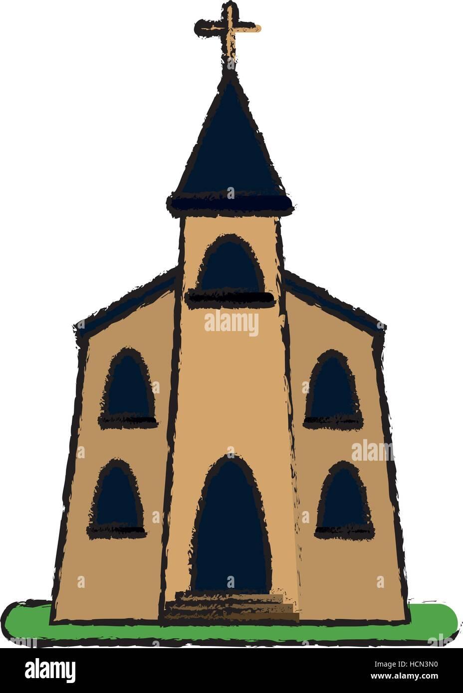 Edificio de la iglesia religiosas cristianas sketch Ilustración del Vector
