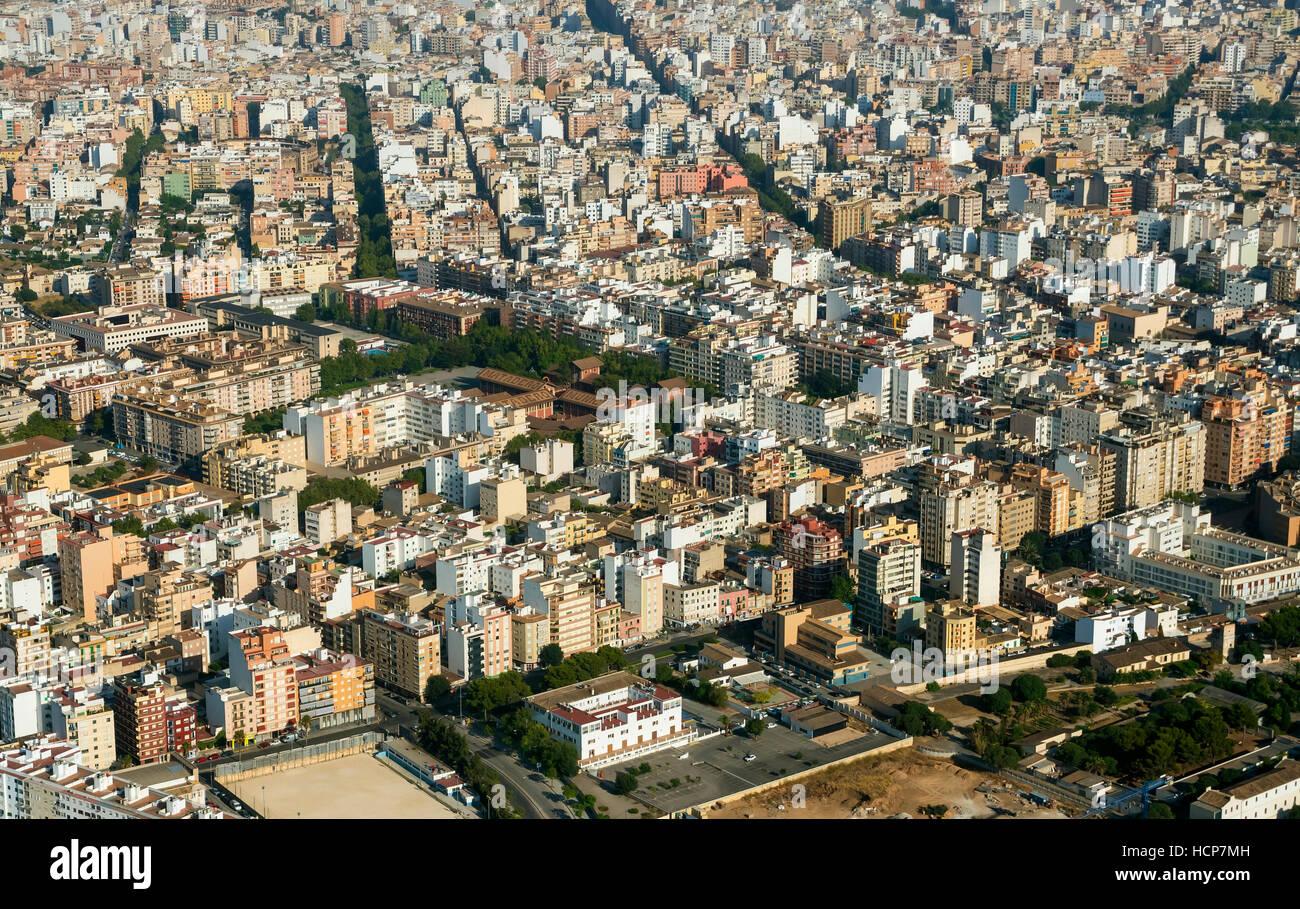 Vista aérea, Palma de Mallorca, Mallorca, Islas Baleares, España Foto de stock