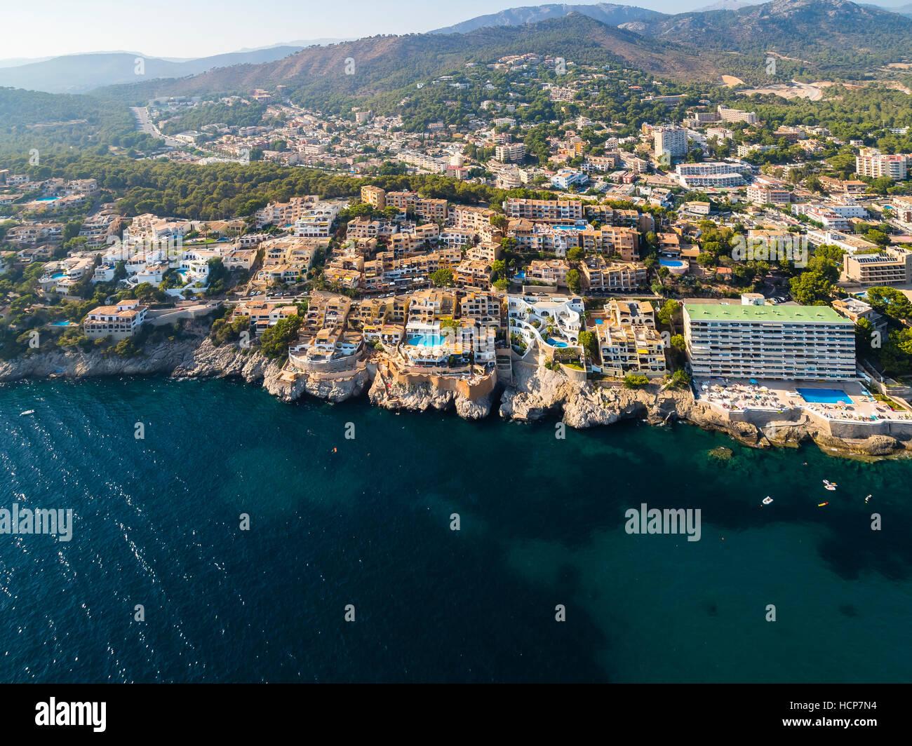 Vista aérea, Costa de la calma, Cala Fornells, Mallorca, Islas Baleares, España Imagen De Stock