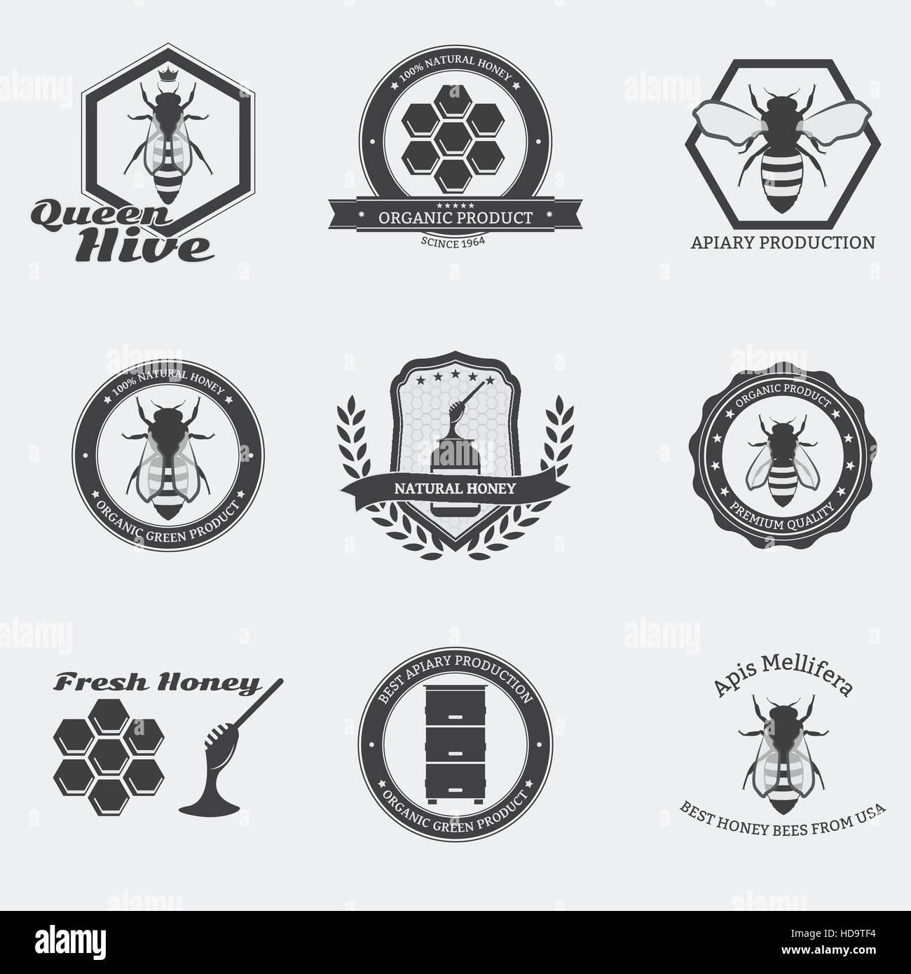 Retro negro con emblemas de abejas obreras y la reina en círculo. Imagen De  Stock adebb3a3b26f3