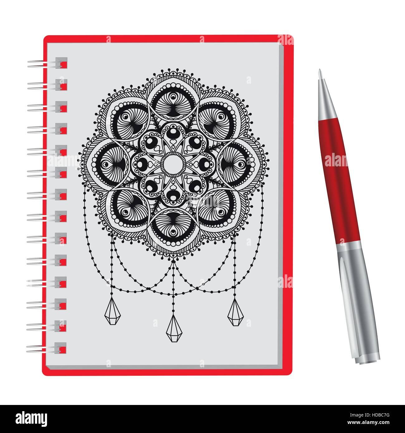 Abre El Bloc De Notas A Mano Y Lápiz Dibujar Mandala Aislado Sobre