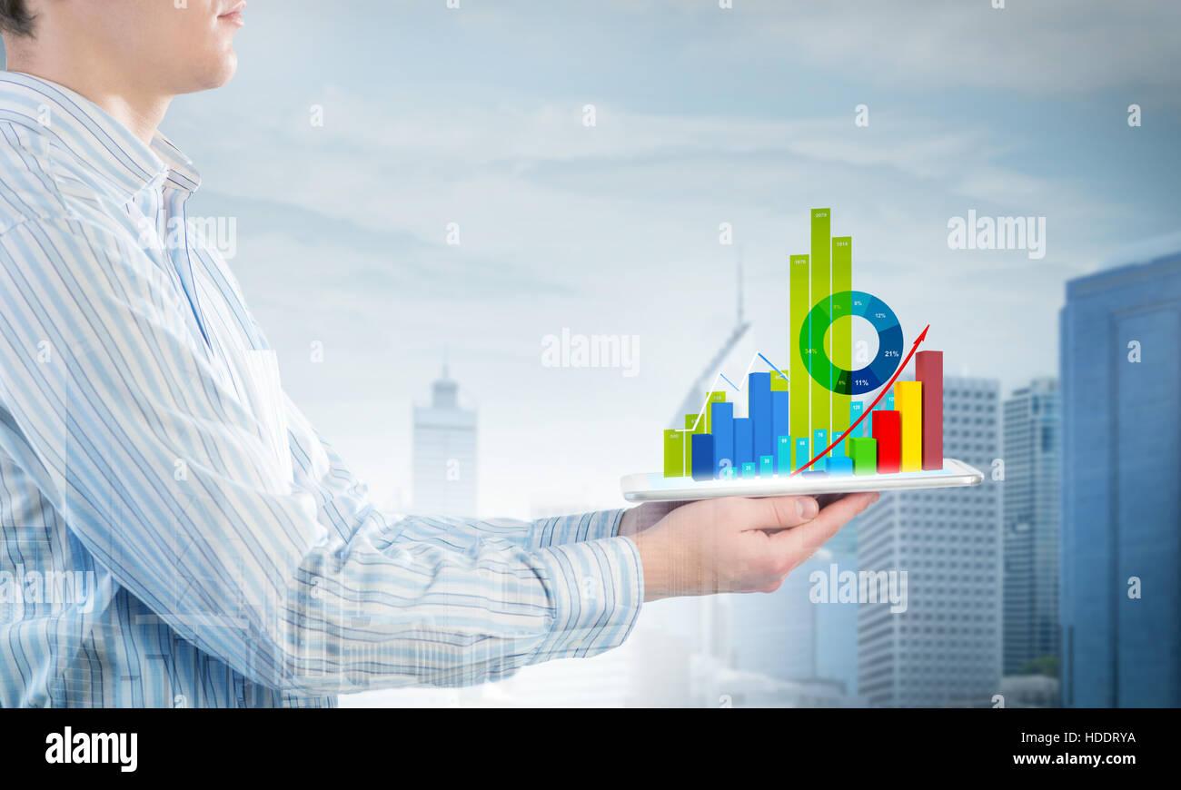 Presentar informe de ventas promedio Foto de stock