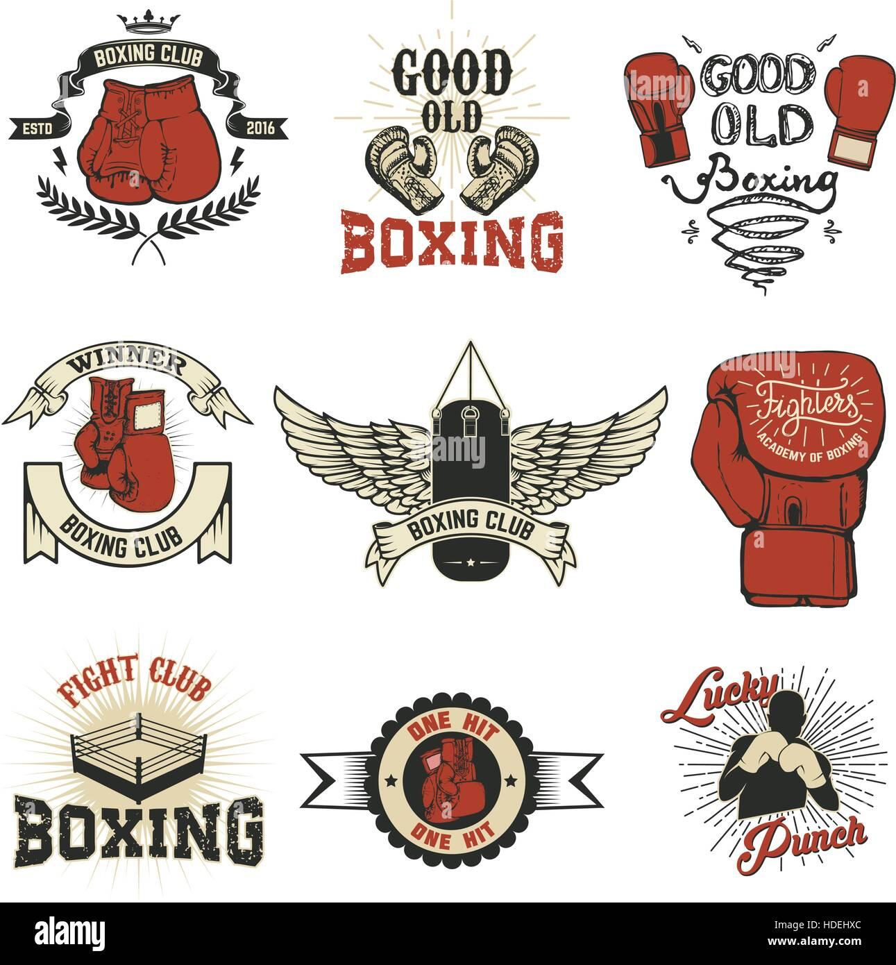 Boxeo. Club de boxeo etiquetas en grunge antecedentes. T-shirt ...