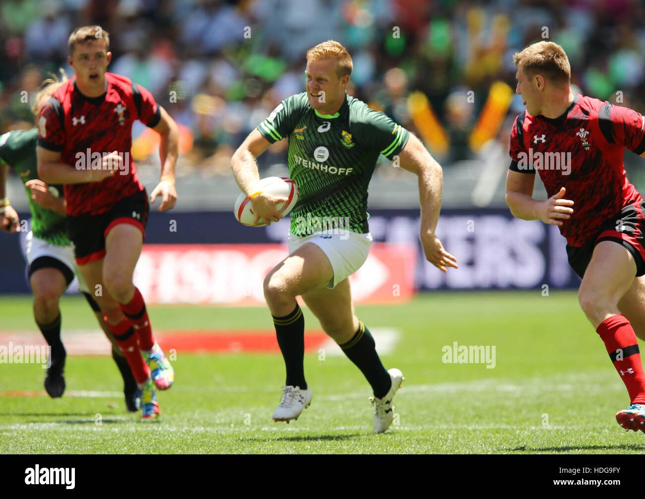 El SA Rugby Sevens Springbok jugadores en acción durante el 2016 HSBC Sevens torneo en Ciudad del Cabo en el Estadio Green Point, Punto de Cape Town. Foto de stock