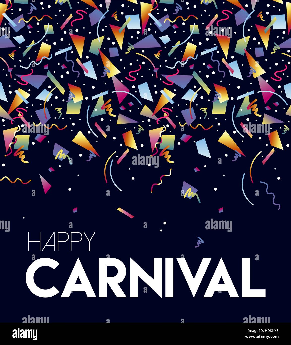 Feliz Carnaval Retro Ilustración Colorida Fiesta De Confeti