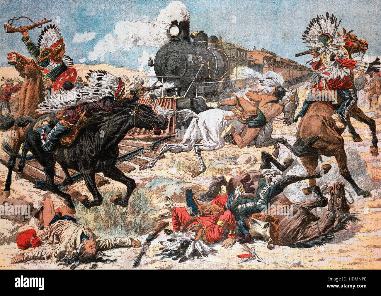 """""""Le Petit Journal"""", París, 25 de febrero, 1906 - Los Indios Norteamericanos atacando a un tren en el South Pacific Foto de stock"""