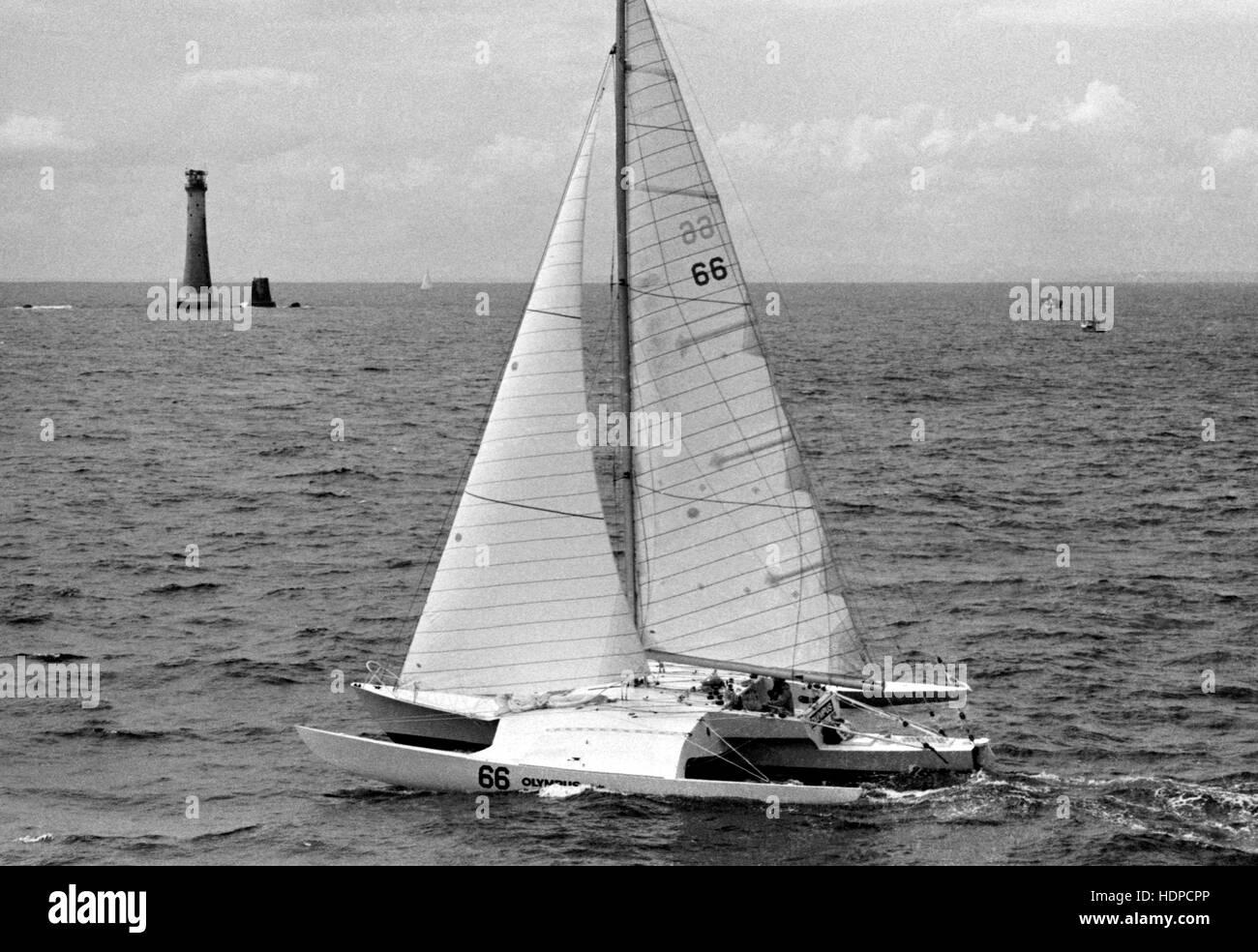 AJAXNETPHOTO. 7º de junio de 1980. PLYMOUTH, Inglaterra. - OSTAR 1980 - sola raza - Olympus patroneado por Imagen De Stock