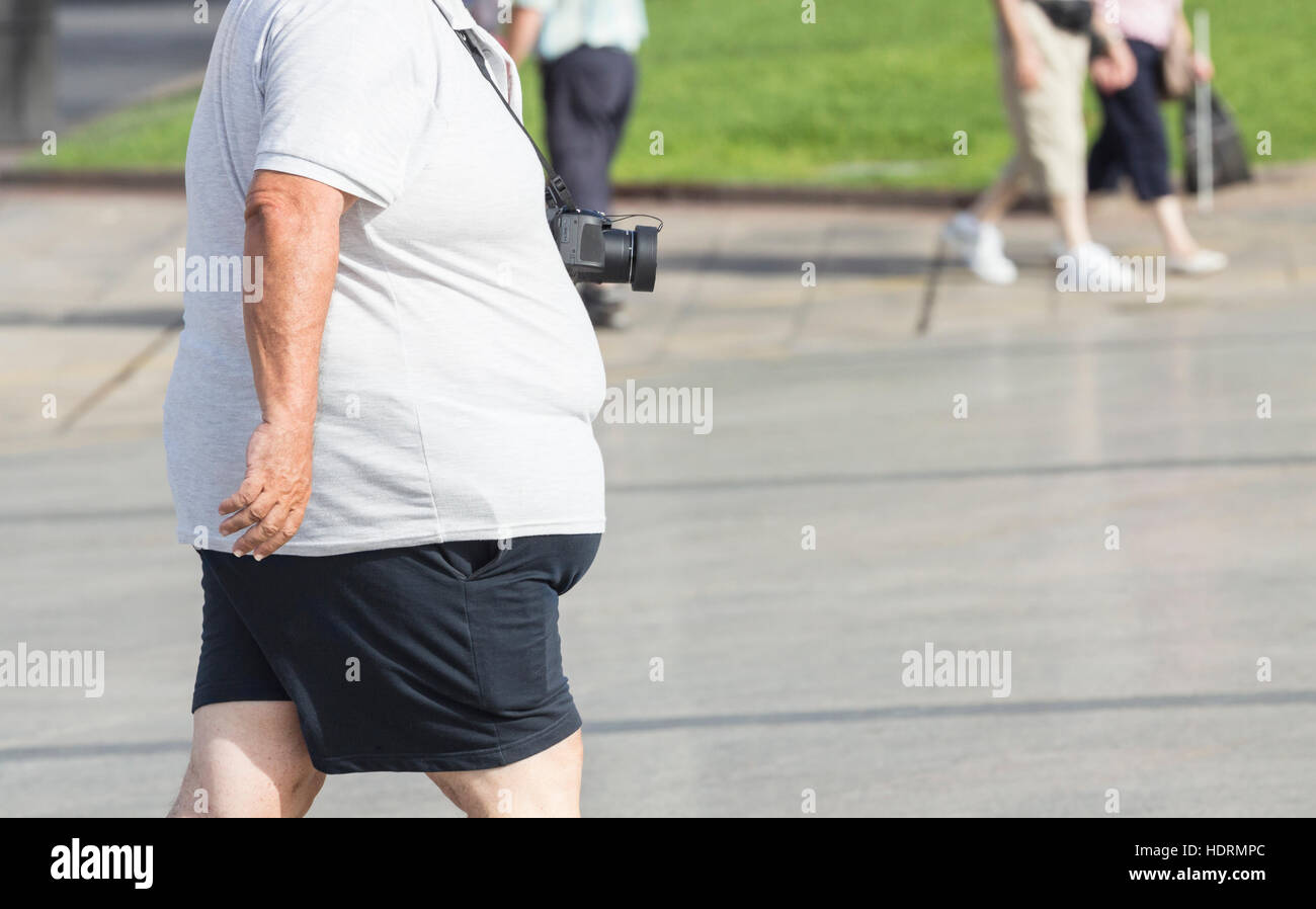 Sobrepeso turista con cámara. Imagen De Stock