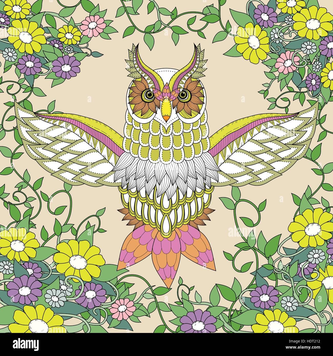 Búho Hermoso Diseño De Páginas Para Colorear En Un Exquisito