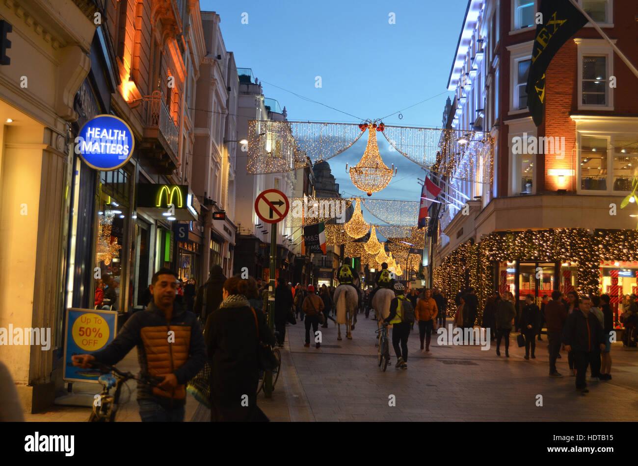 Las luces de Navidad en Grafton Street, Dublin, Irlanda Nov 2016 Imagen De Stock