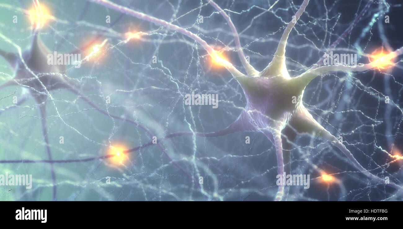 Ilustración 3D de neuronas interconectadas con pulsos eléctricos. Imagen De Stock