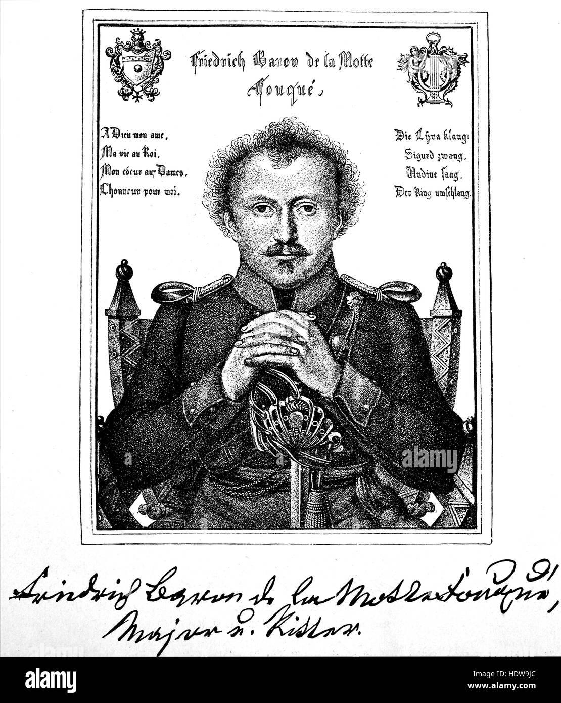 Friedrich Heinrich Karl, barón de la Motte Fouqué, 1777-1843, un escritor alemán de la xilografía estilo romántico, desde el año 1880 Foto de stock