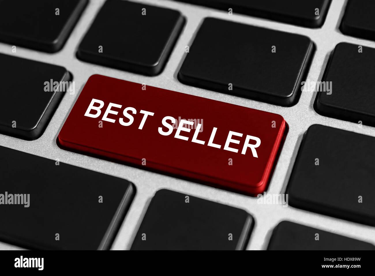 Best Seller botón rojo sobre el teclado, concepto de negocio Foto de stock