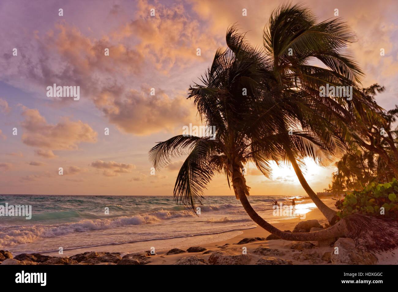 Atardecer en la playa de Dover, St. Lawrence Gap, South Coast, Barbados, Caribe. Imagen De Stock