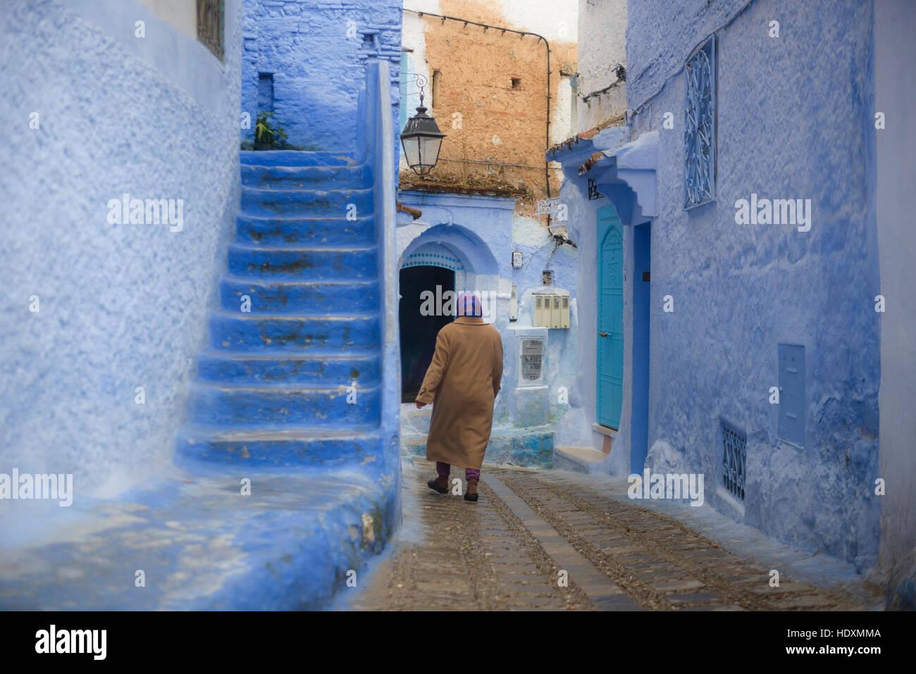 Las calles y callejones de la medina de Chefchaouen, Marruecos Imagen De Stock