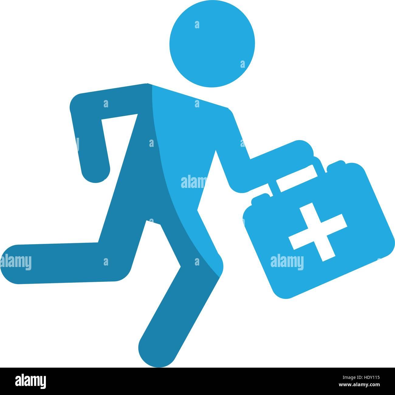 Paramédico corriendo con kit médico diseño ilustración