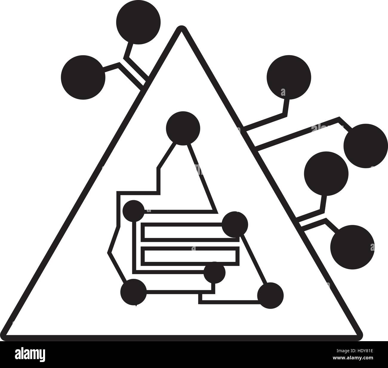 Circuito Lineal : Circuito informático triángulo lineal de componentes electrónicos
