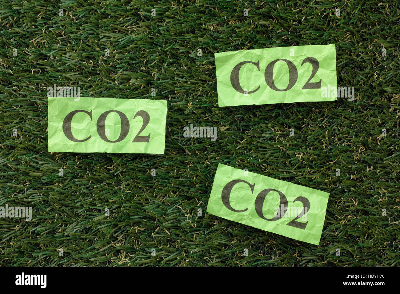 Nube de dióxido de carbono (CO2) en un césped verde. Concepto imagen. Cerca. Imagen De Stock