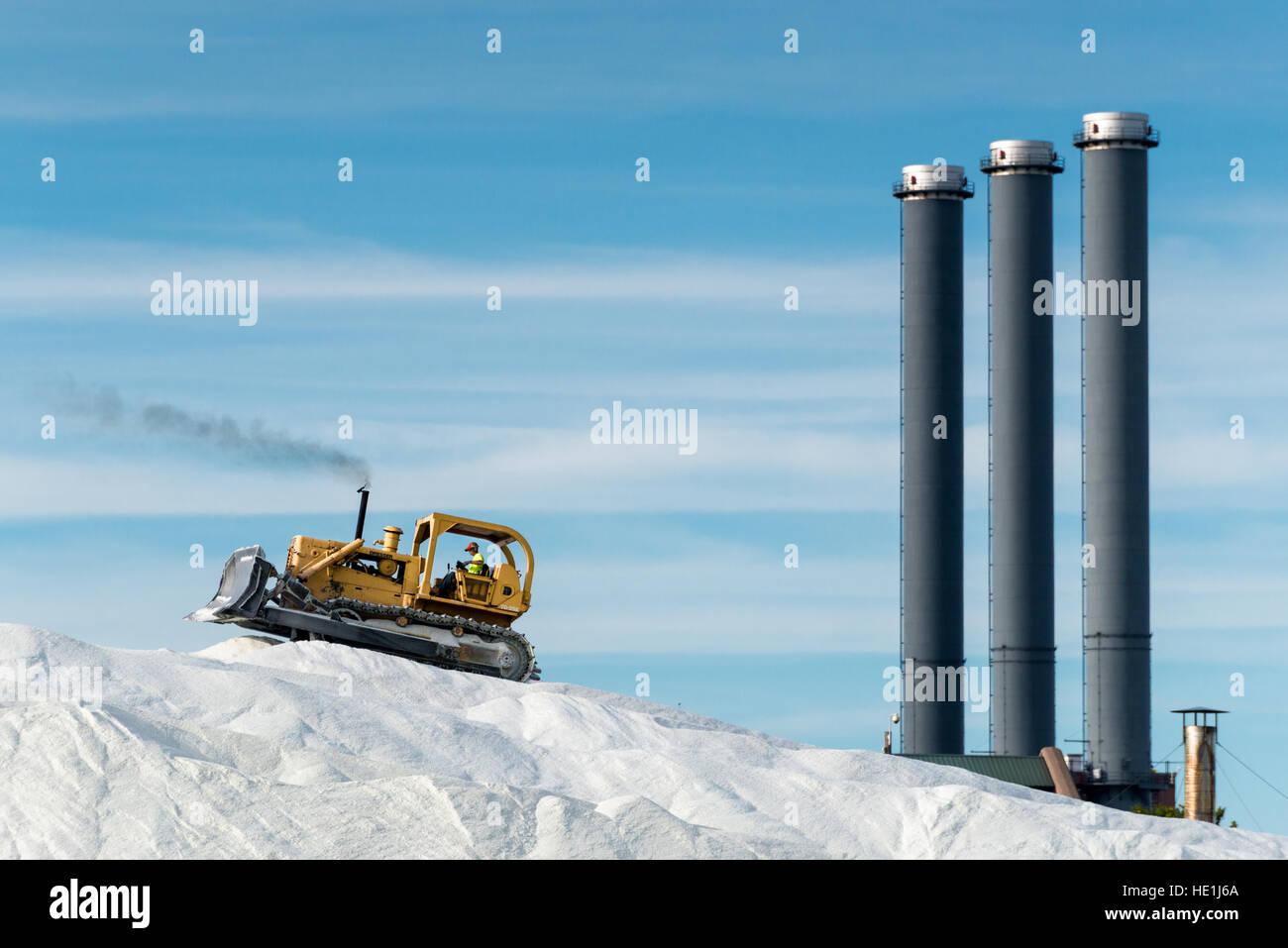 Un transportador de tierra (excavadora) montones de sal de las carreteras que se acaba de descargar desde un barco. Imagen De Stock