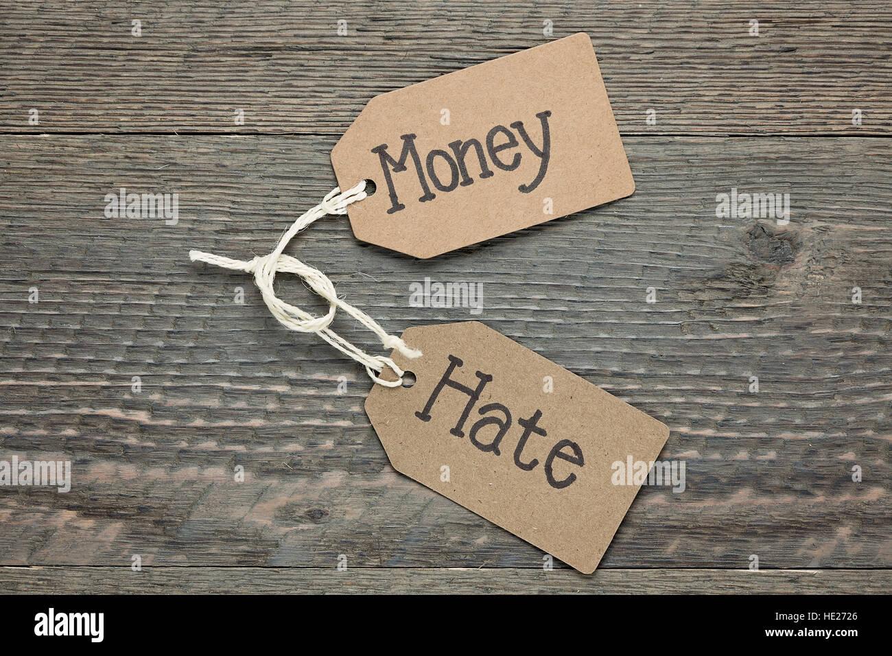 Dinero y el odio Imagen De Stock