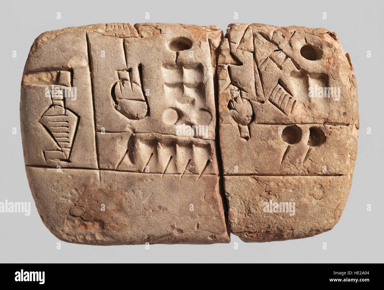 6010. Principios Clay Tablet, Mesioitamia cuneiforme pictográfico, Uruk, c. 3100-2900 BC. Texto aborda las Imagen De Stock