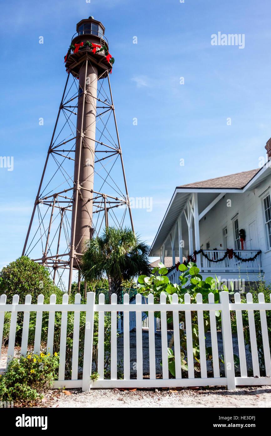 En Sanibel Island, Florida Sanibel Island Lighthouse PUNTO DE LUZ LUZ Ybel Imagen De Stock