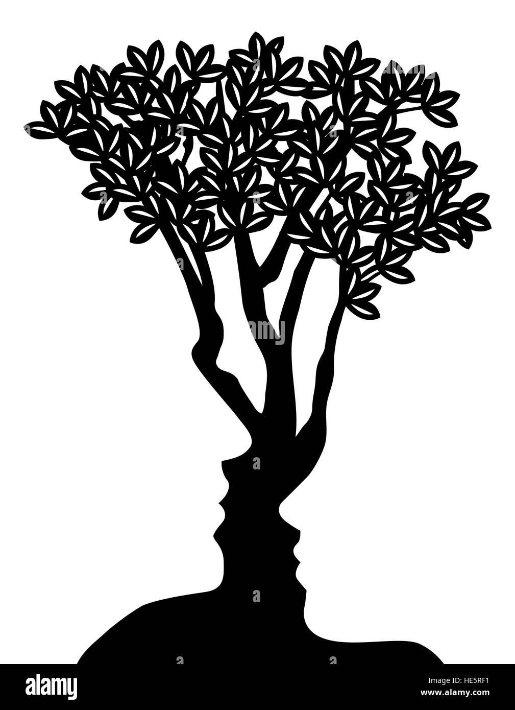 Árbol formado por el hombre y la mujer se enfrenta a una ilusión óptica concepto de diseño Imagen De Stock