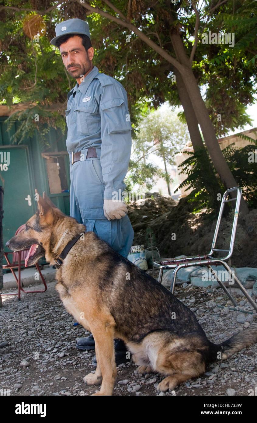 100605-F-1020B-009 Kabul - Enaya Tullah, un oficial de la policía nacional afgana espera con su perro de trabajo militar en el punto de control 4, uno de los topes de seguridad del interior de la ciudad, 5 de junio de 2010. Los 25 puestos de control alrededor de la sección central de Kabul, conocido como el anillo de acero, son parte de una nueva medida de seguridad del perímetro de la ciudad capital. El Sargento. Sarah Brown/) Foto de stock