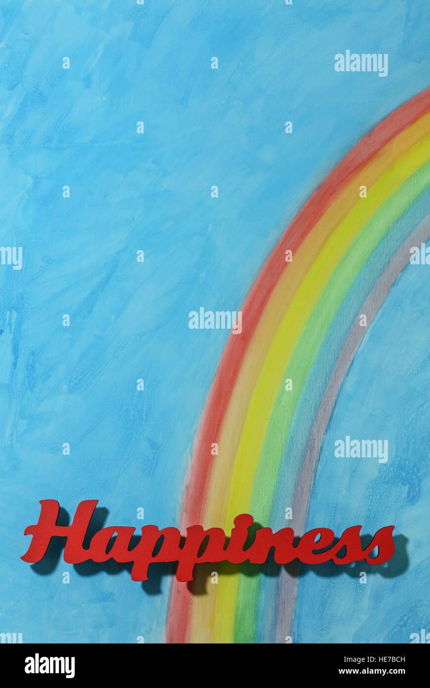 Letras rojas la ortografía de la palabra felicidad para ilustrar el concepto de alegría, feliz, el amor Imagen De Stock