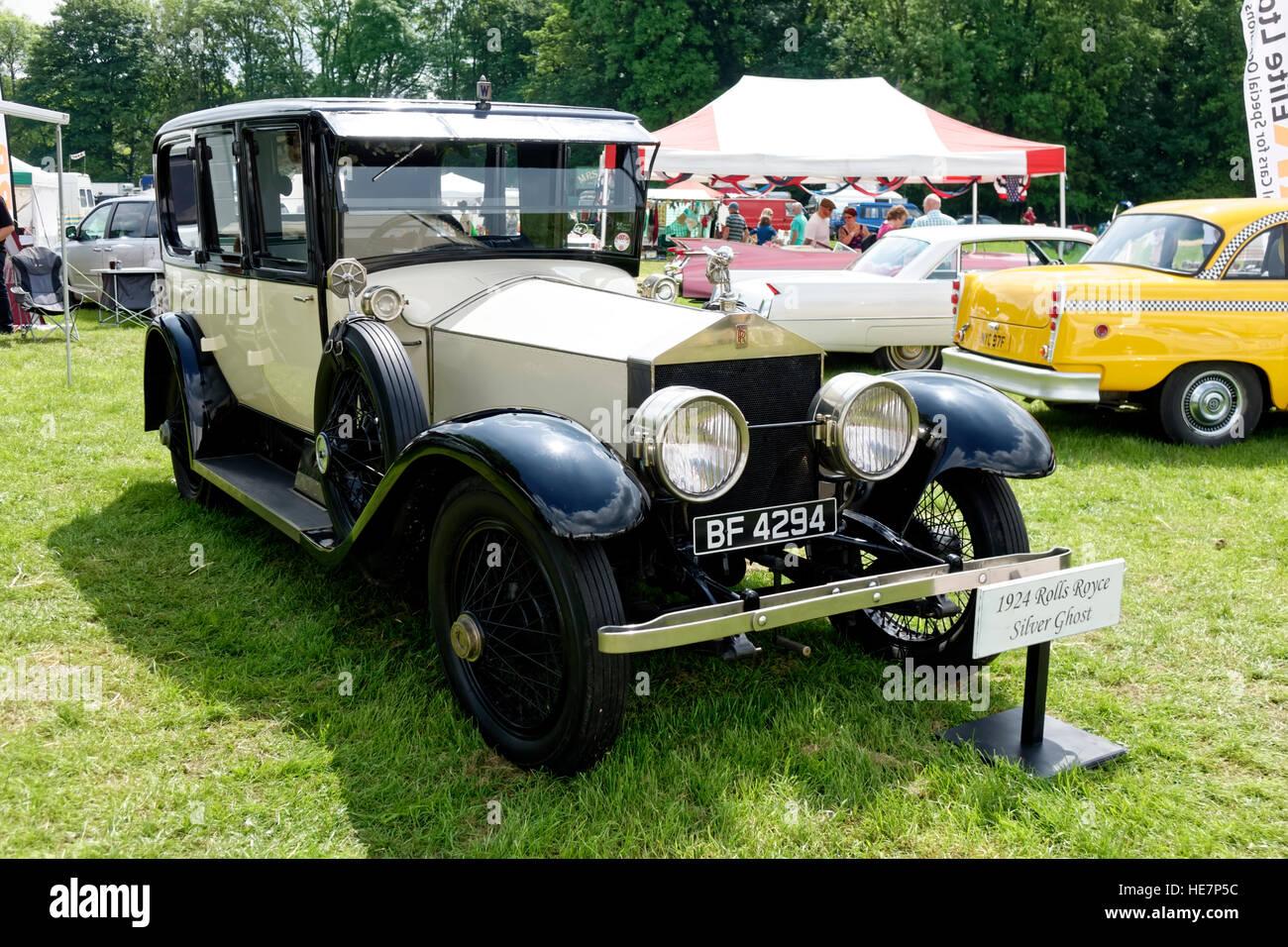 Un 1924 Rolls Royce Silver Ghost en el 2014 Stockton Nostalgia muestran, Wiltshire, Reino Unido. Imagen De Stock
