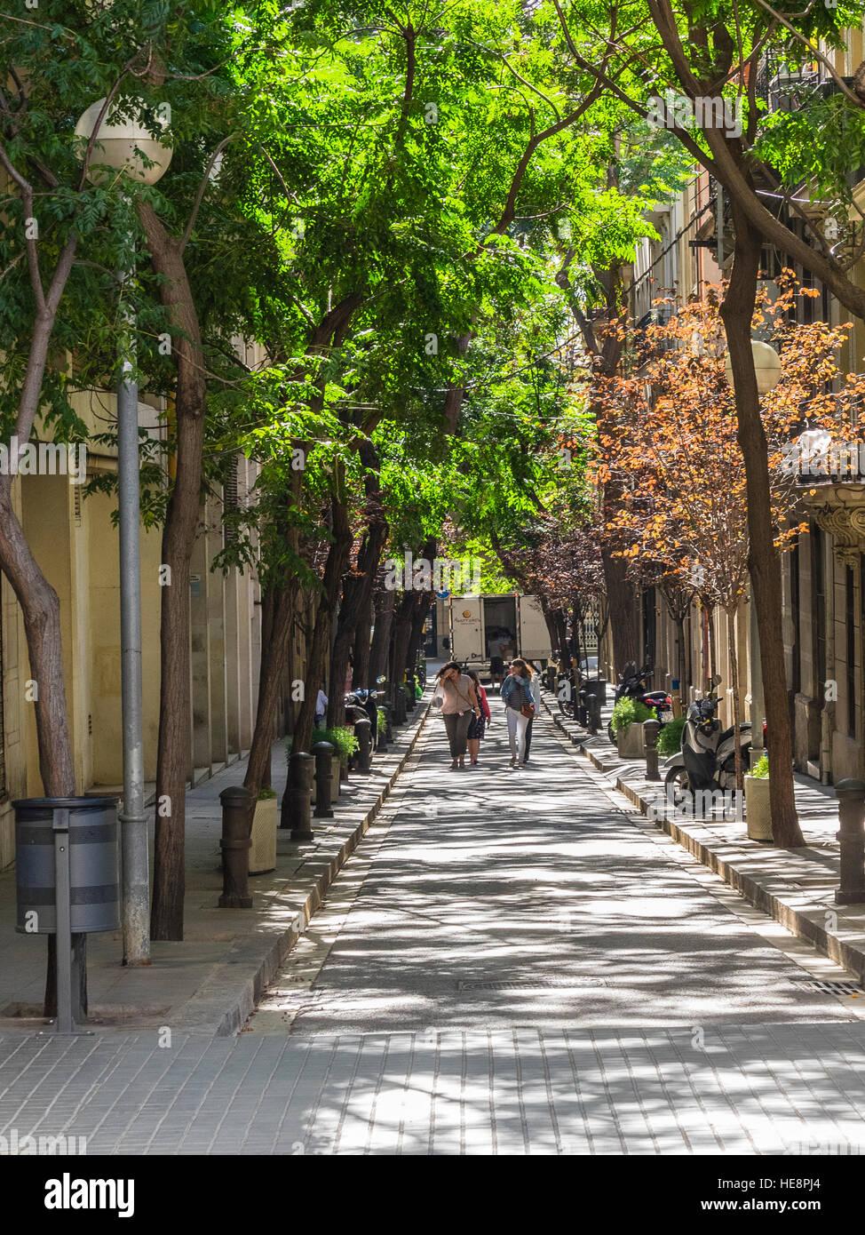 Los adultos caminen juntos a lo largo de una estrecha calle bordeada de árboles en Barcelona, España. Foto de stock