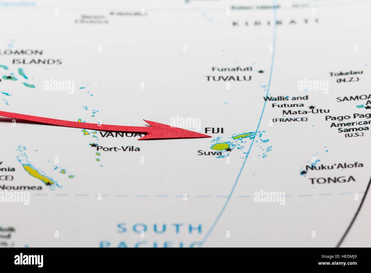 Flecha Roja Que Apunta Islas Fiji En El Mapa Del Oceano
