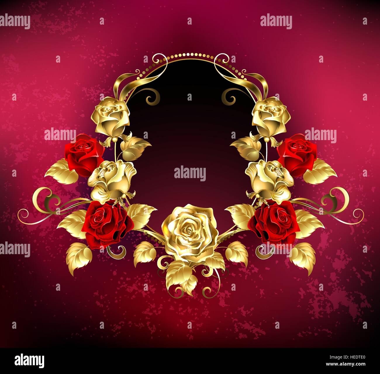 El rojo Óvalo banner con marco dorado decorado con oro y rosas rojas ...
