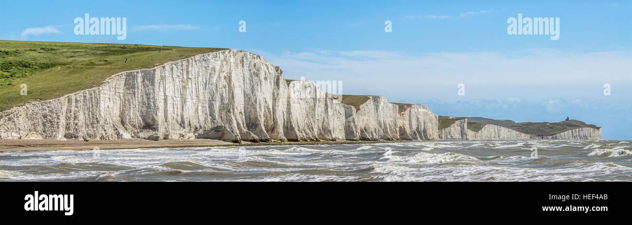 Vista sobre las Siete Hermanas Formación acantilado cerca de Eastbourne, East Sussex, al sur de Inglaterra. Foto de stock