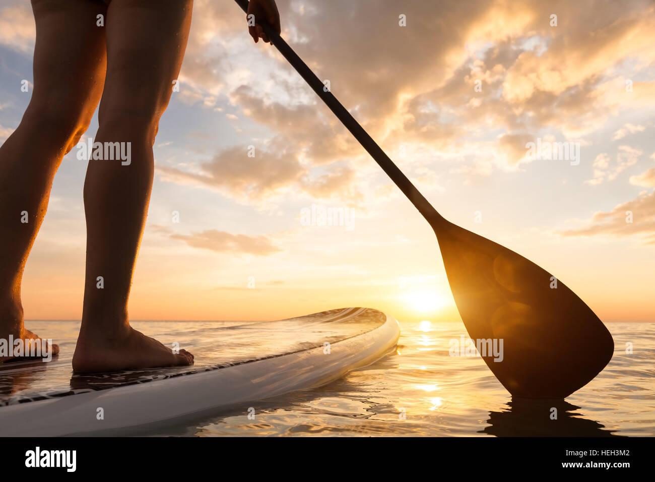 El Stand Up Paddle Surf en un mar tranquilo, con cálidos colores del atardecer de verano, cerca de piernas Foto de stock