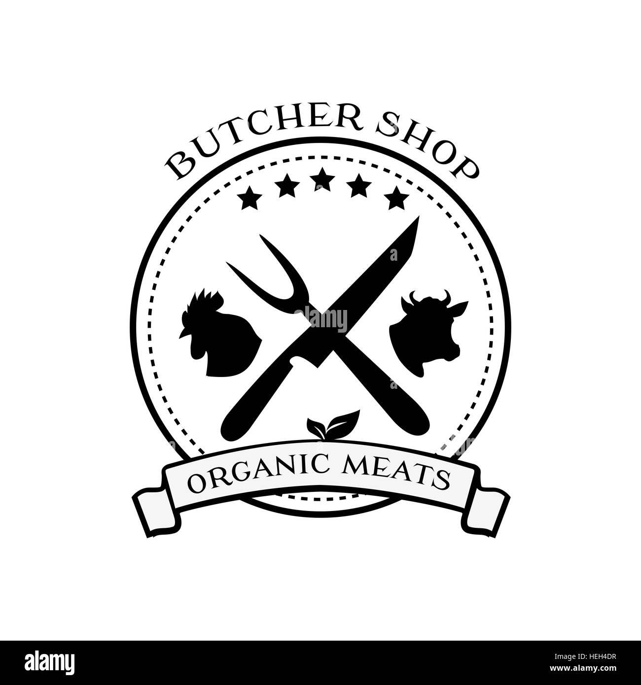 Butcher Shop diseño de logotipos, etiquetas y elementos distintivos en el estilo de época. Logotipo de carnicería, carne plantilla de etiqueta. Idea de logo para Ilustración del Vector