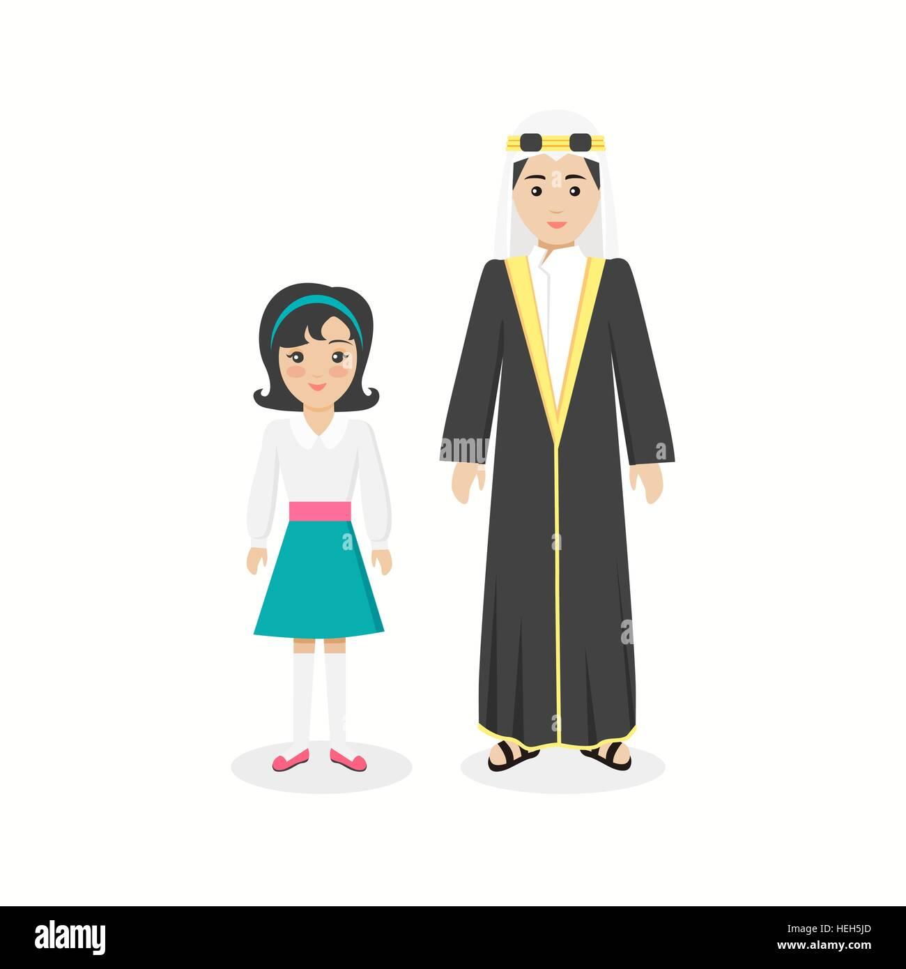 167d0fc32 Arabian ropa tradicional pueblo. Familia tradicional árabe musulmán ...