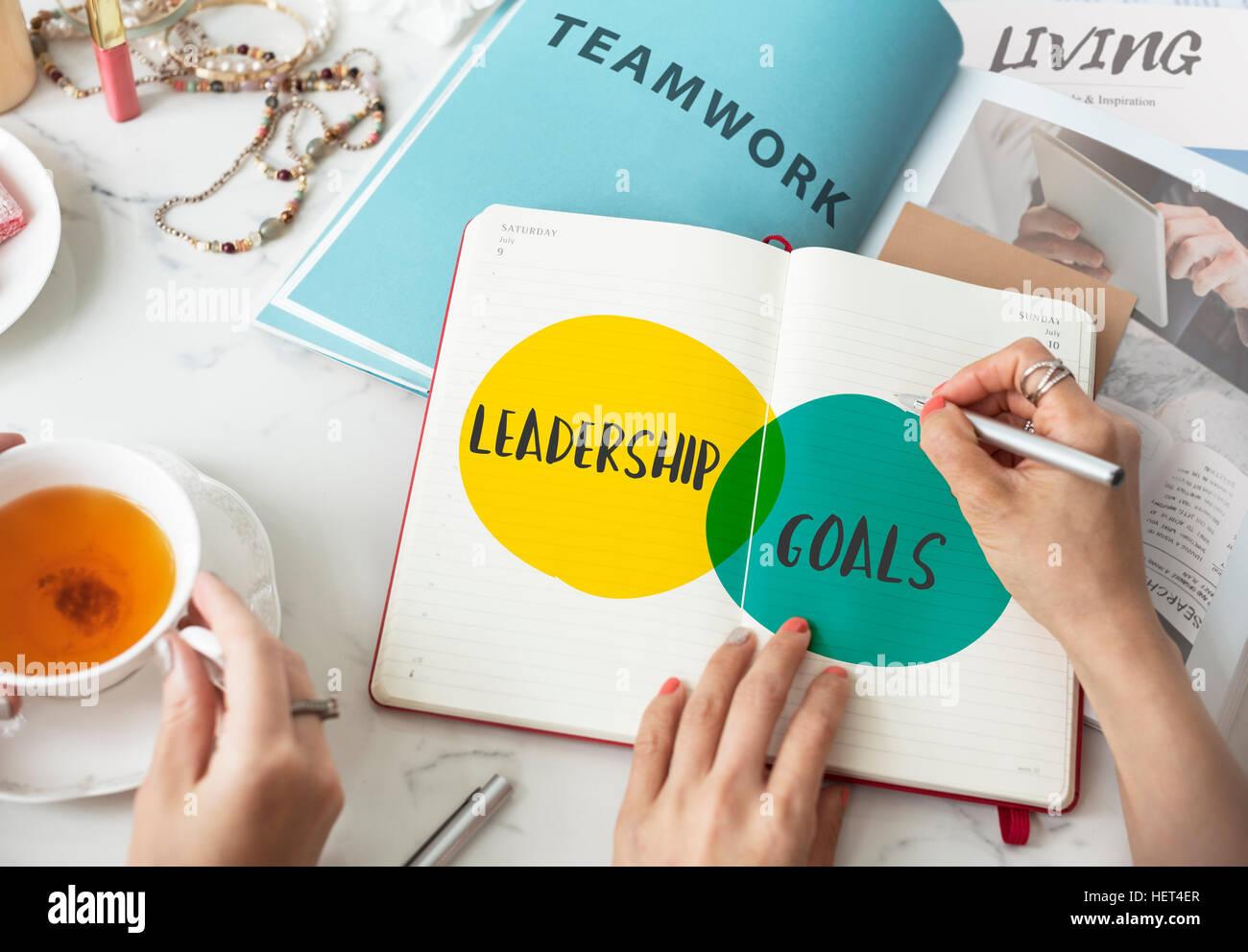 Los objetivos de liderazgo Ideas motivación concepto Círculos Imagen De Stock