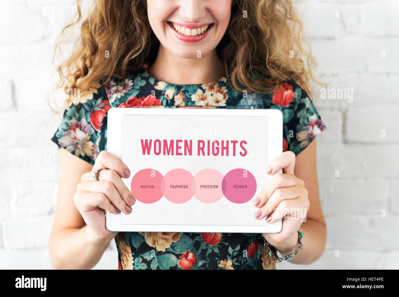 Los derechos de la mujer derechos de género el concepto de igualdad de oportunidades Imagen De Stock