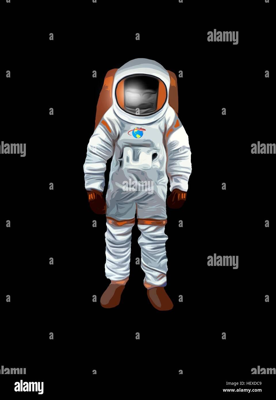 Ilustración de un hombre del espacio, o astronauta, adecuado para la publicación para niños. Foto de stock