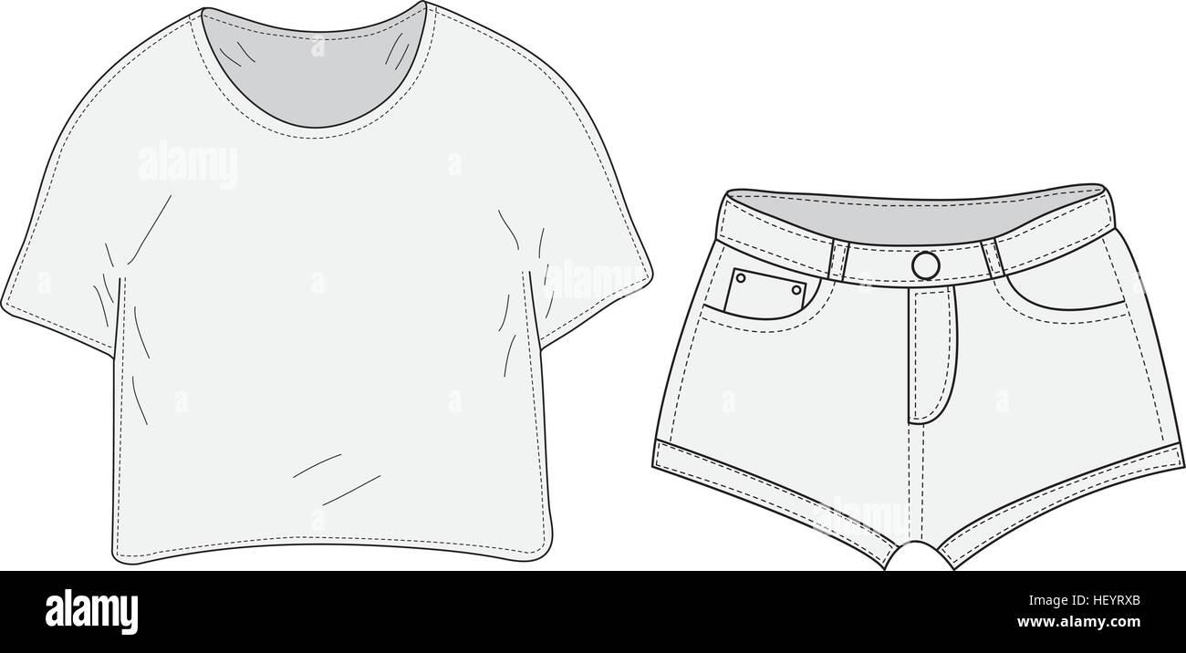 1c1b510cf Camiseta y pantalones cortos conjunto boceto