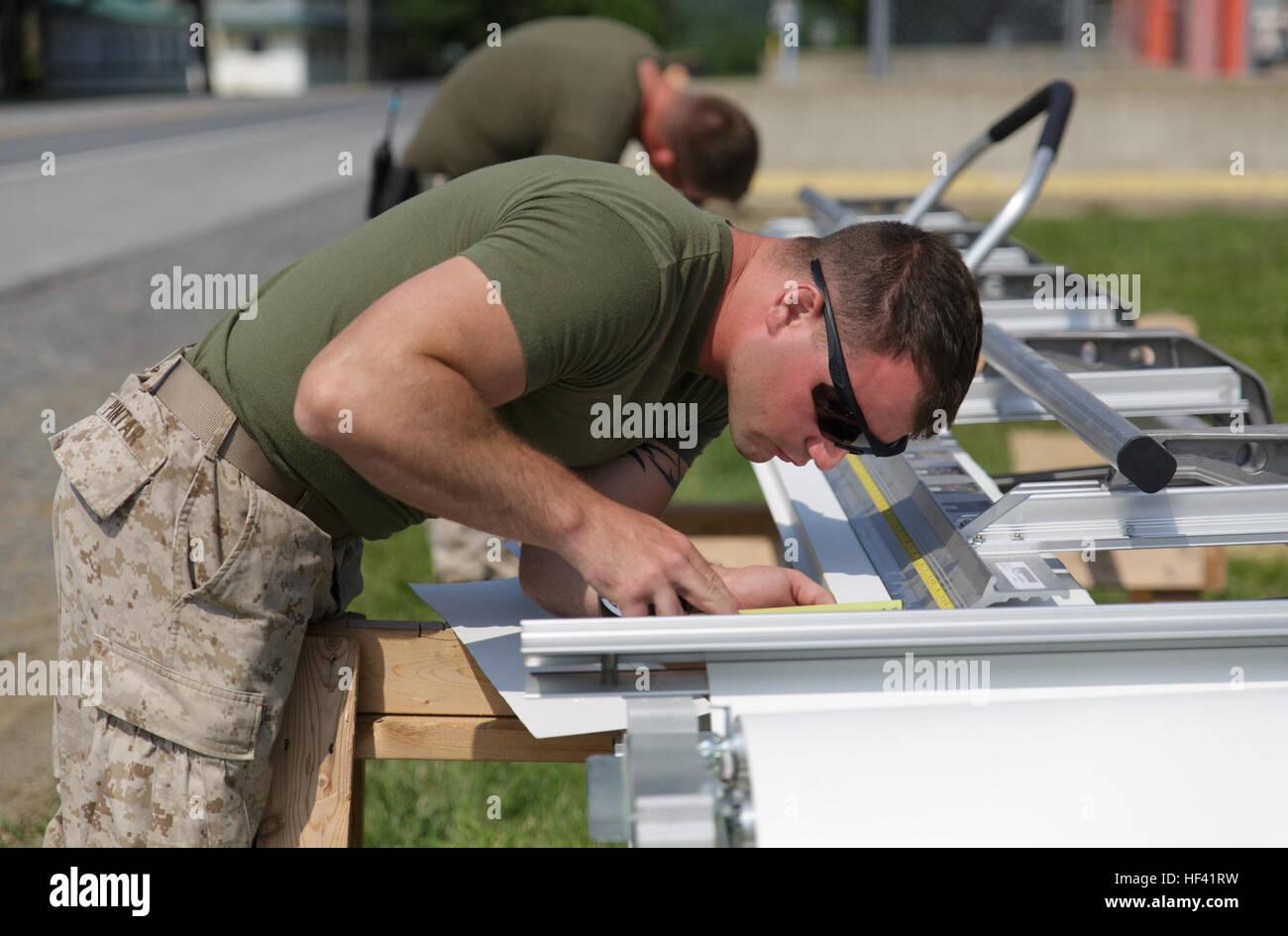 Lance Cpl. Benjamin M. Pintar, un ingeniero de combate con la compañía C, 6º, 4º Batallón Imagen De Stock