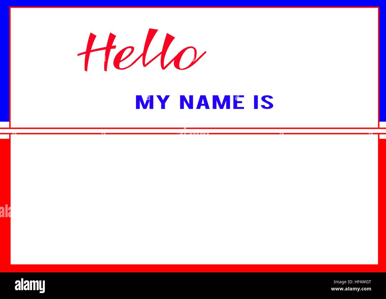 Hola mi nombre es. Marco azul - rojo, fondo blanco, rojo y azul de ...