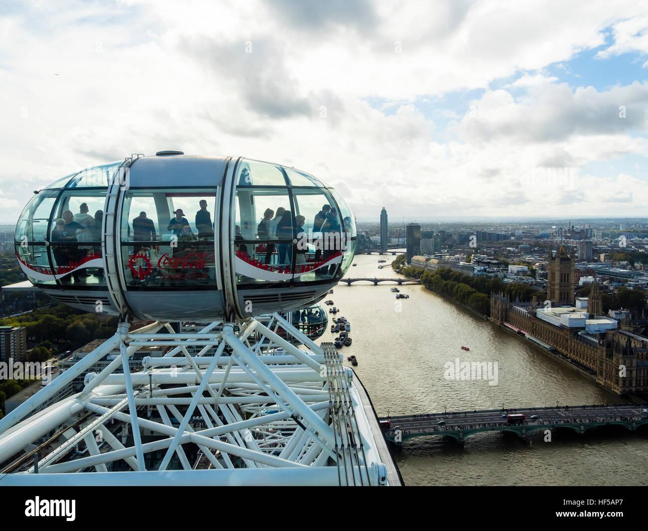 Las cápsulas, London Eye, London, England, Reino Unido Imagen De Stock