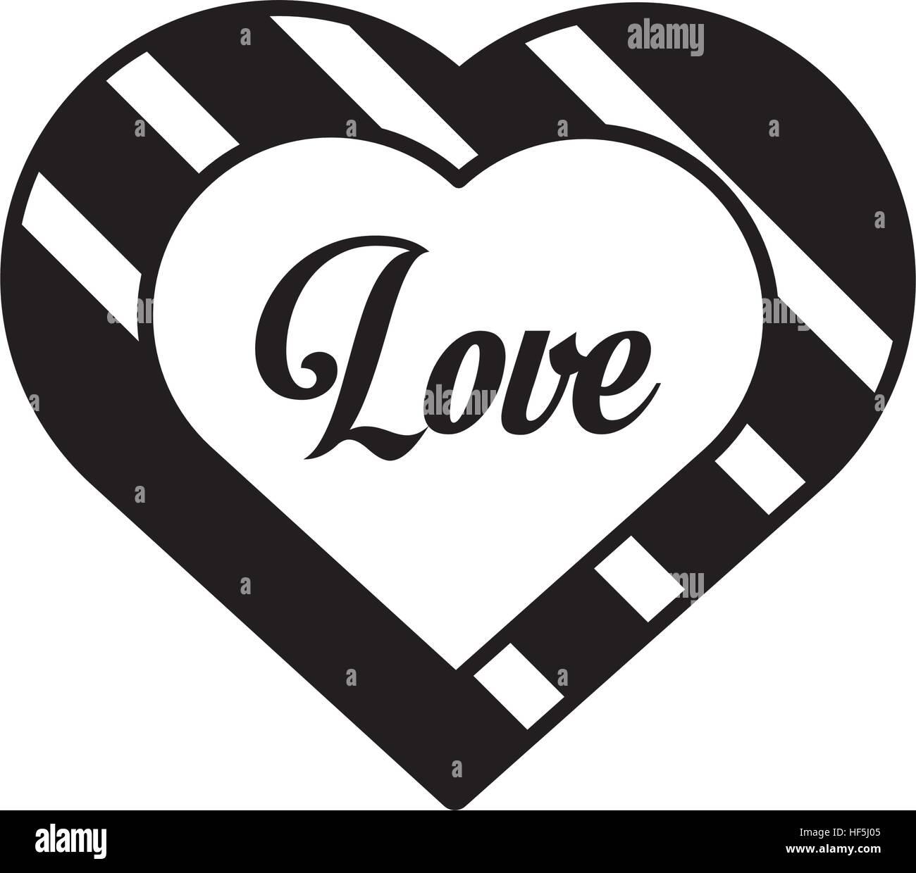 Corazones Amor Esquema De Decoración En Blanco Y Negro Ilustración