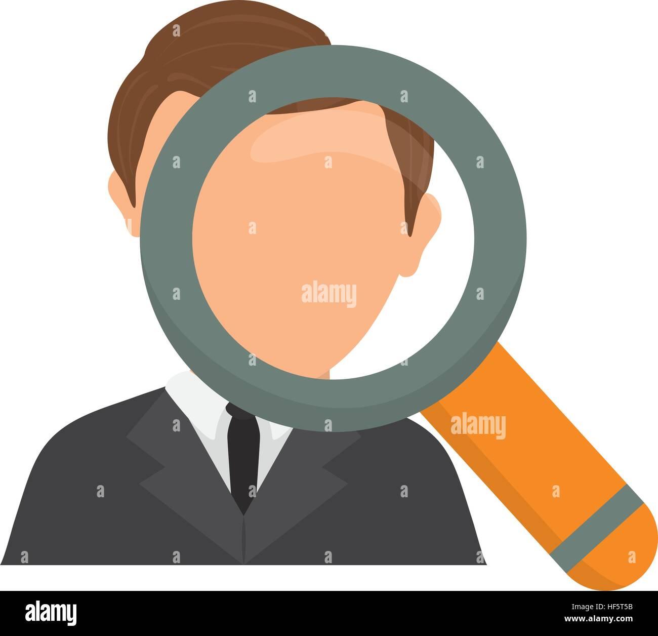 Cartoon Character Magnifying Glass Man Imágenes De Stock & Cartoon ...